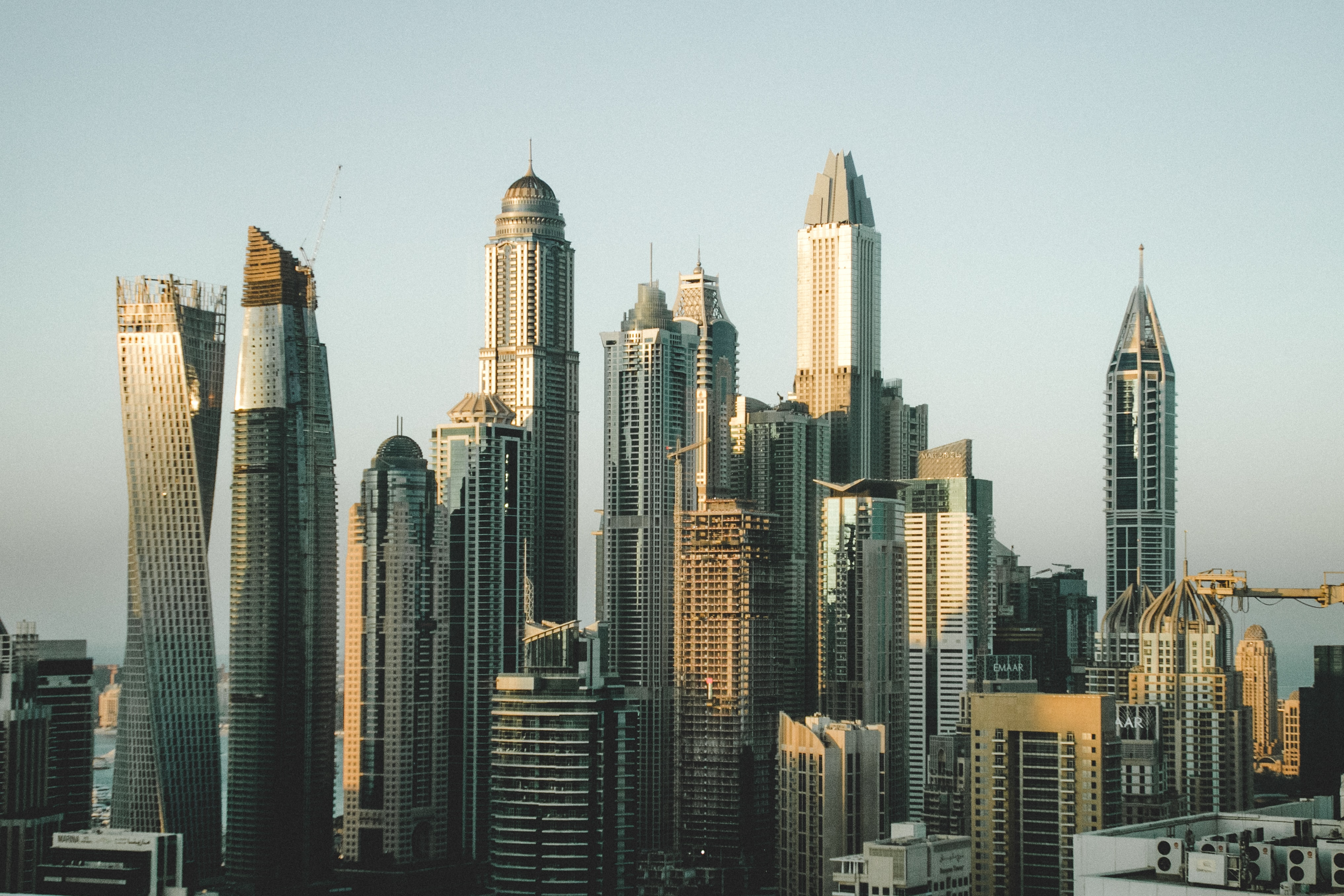 A cluster of tall skyscrapers in downtown Dubai