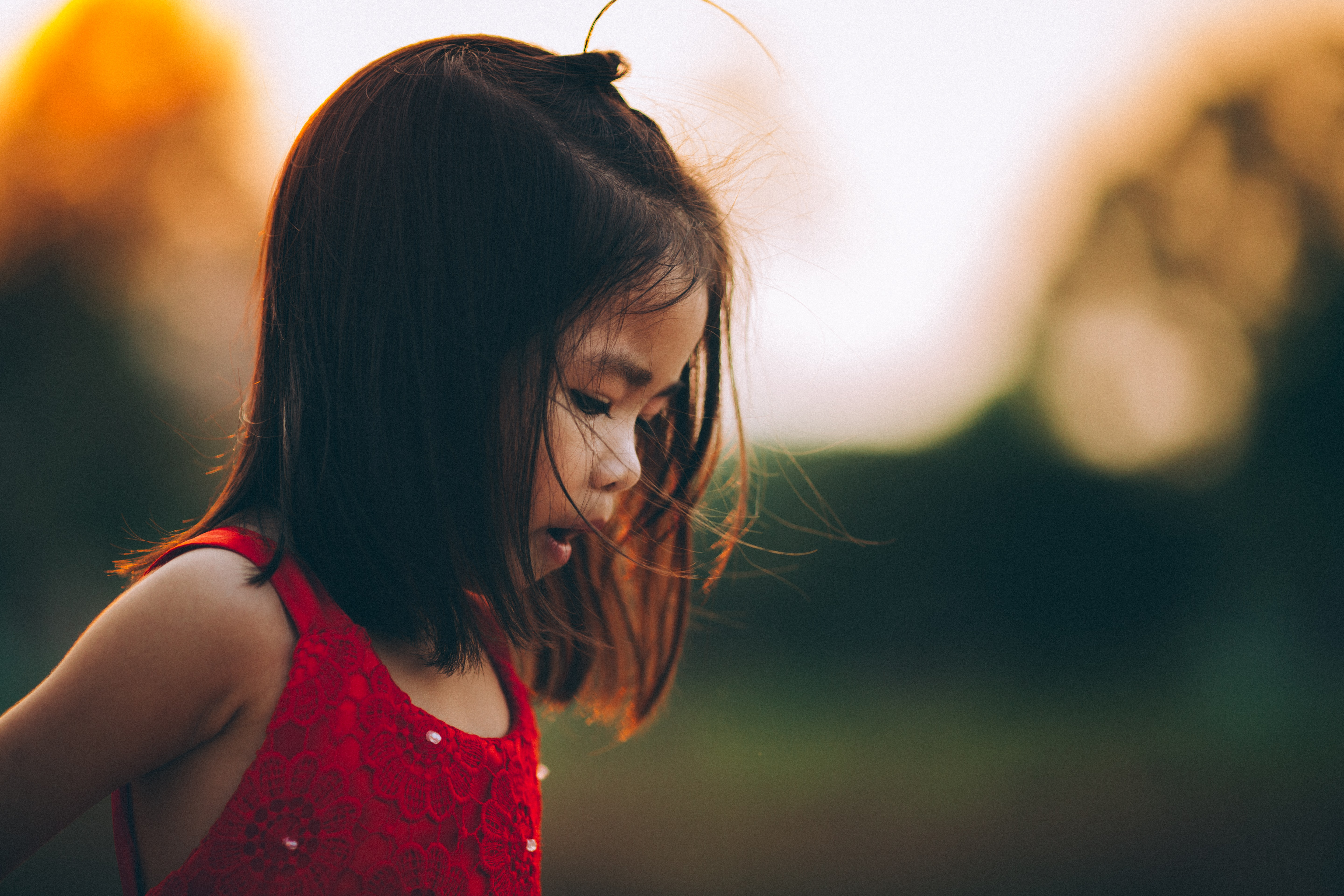 A little girl with a ponytail wearing a red dress