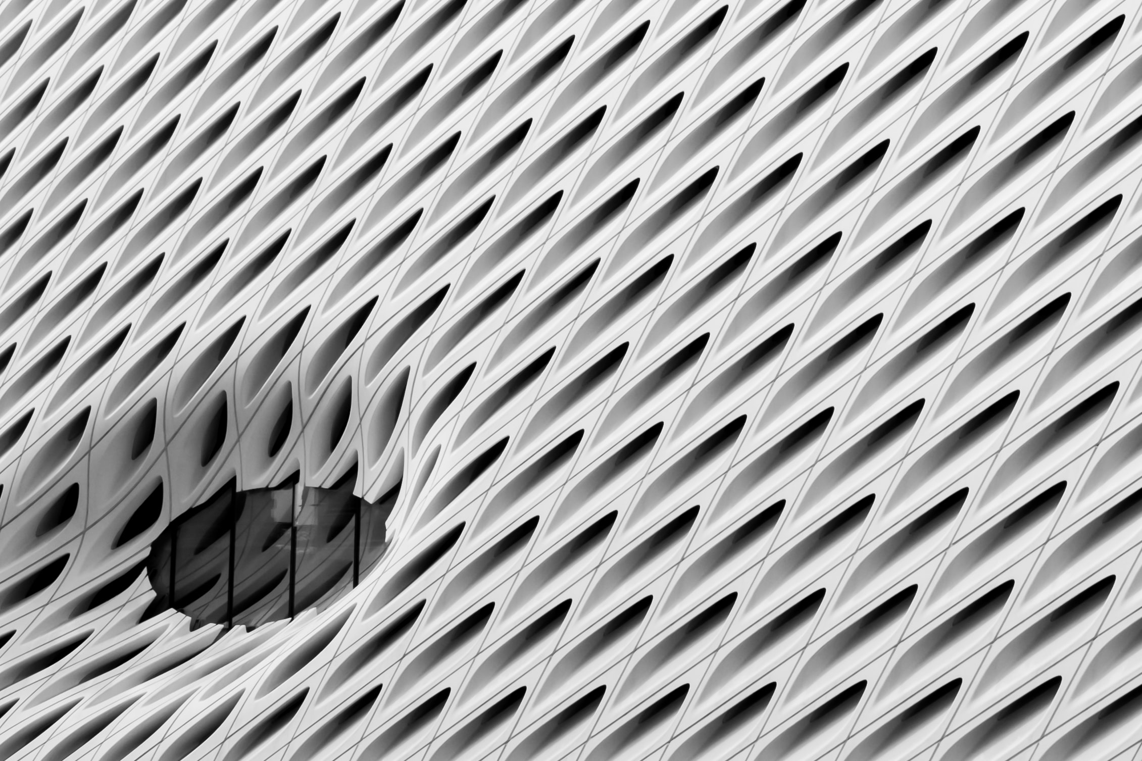 Black and white shot of The Broad museum building architecture in Los Angeles