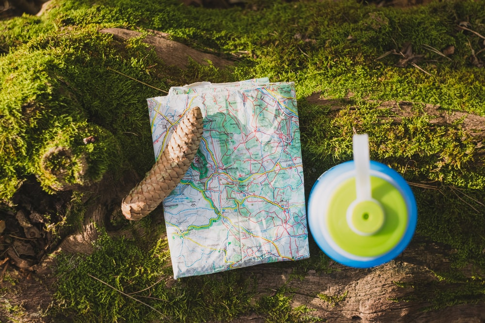 world map beside blue and green tumbler