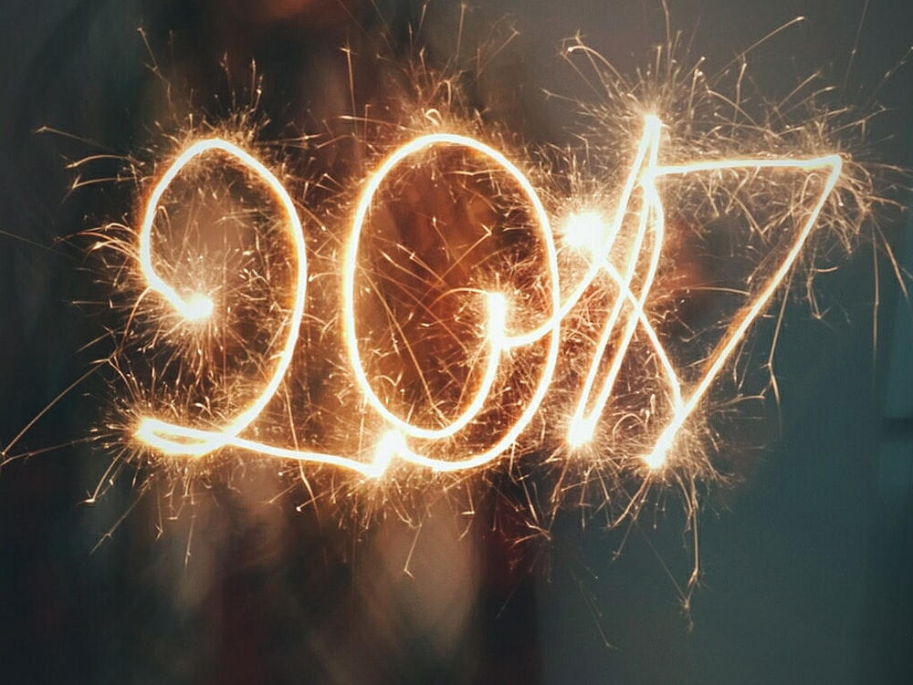 The year 2017 written in sparklers at new year's eve