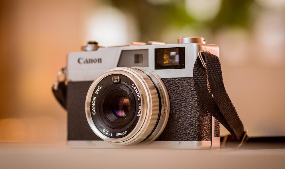 depth of field gray and black Canon film camera