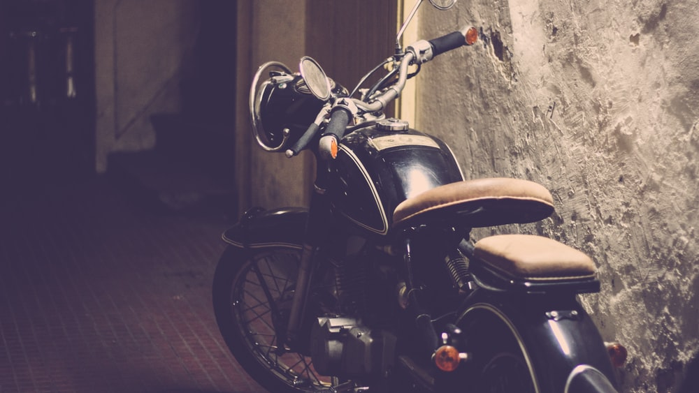 black cruiser motorcycle parked
