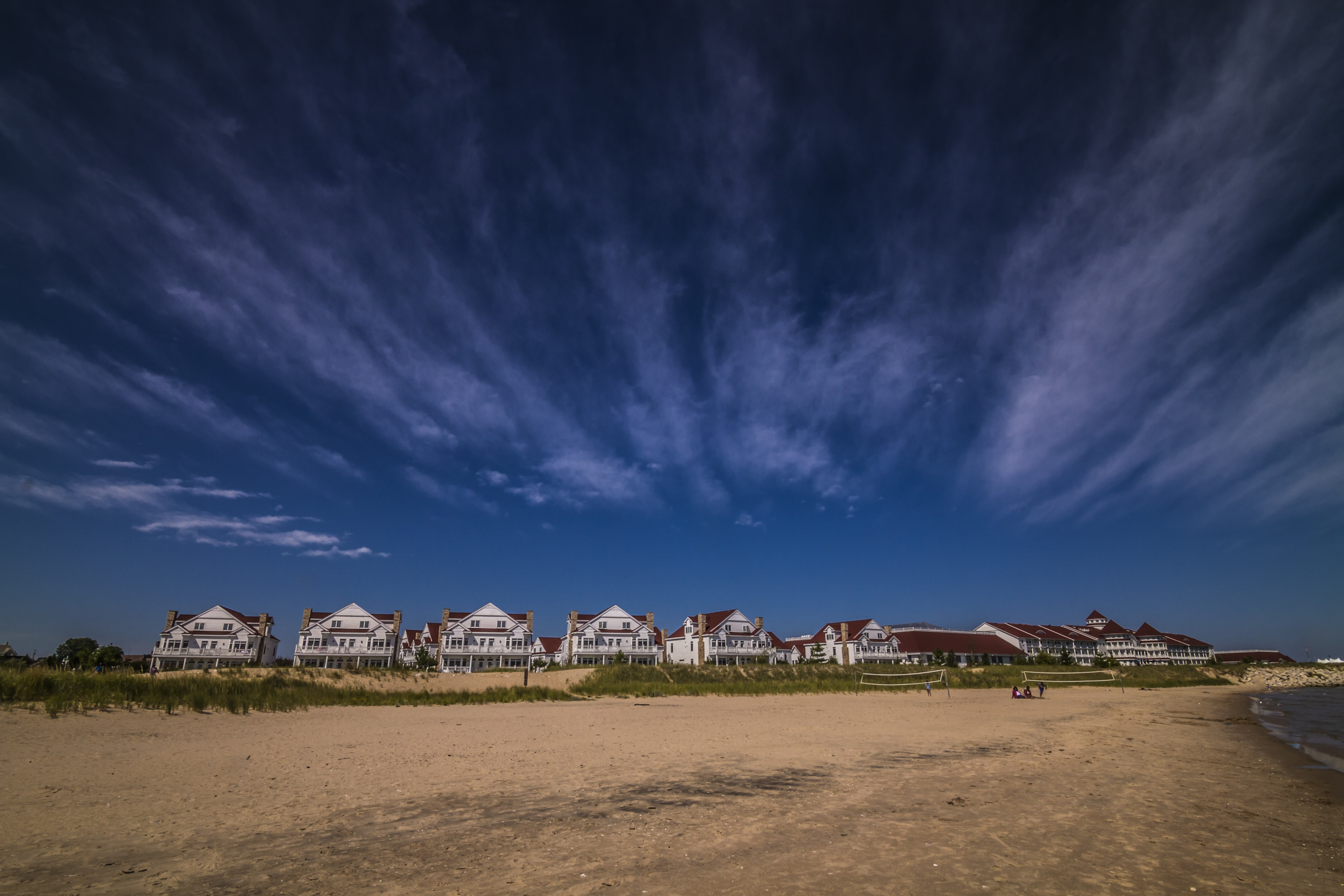Residential houses at the shoreline with sand beach in Sheboygan