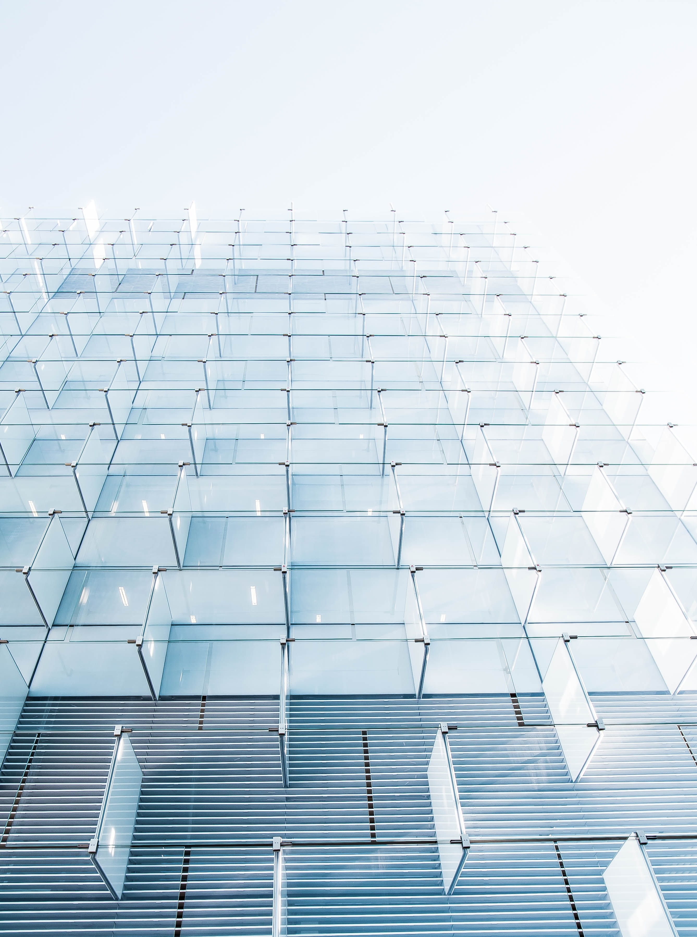 Glass panels in the modern facade of a building in Madrid