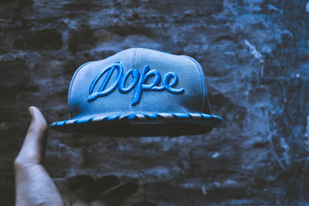 blue faded dope embroidery snapback