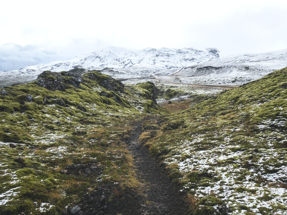 pathway between green grass hill towards snow capped mountain