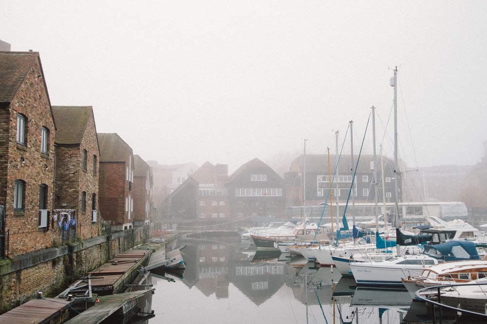 boats on harbour surrounded by fogs during daytime