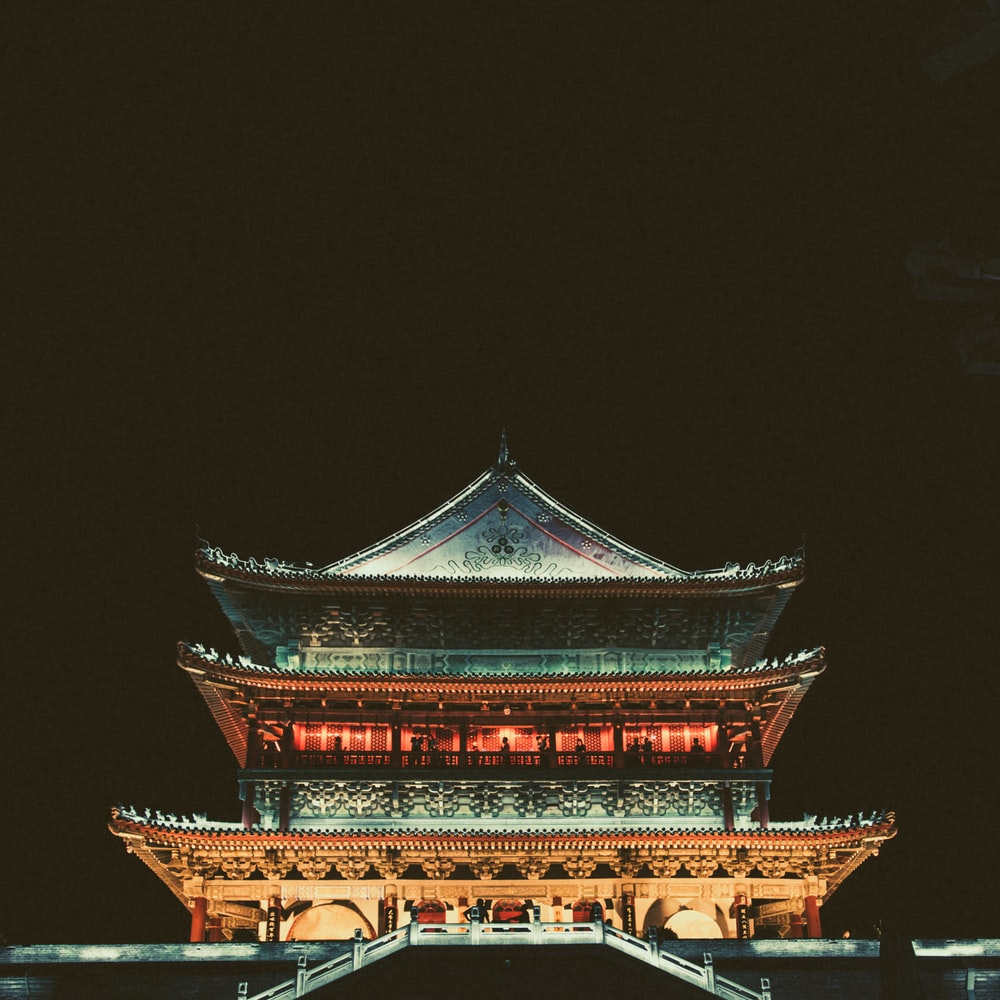 pagoda temple during nighttime
