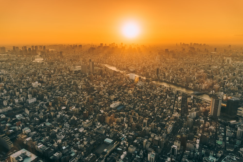 aerial view of city during golden hour