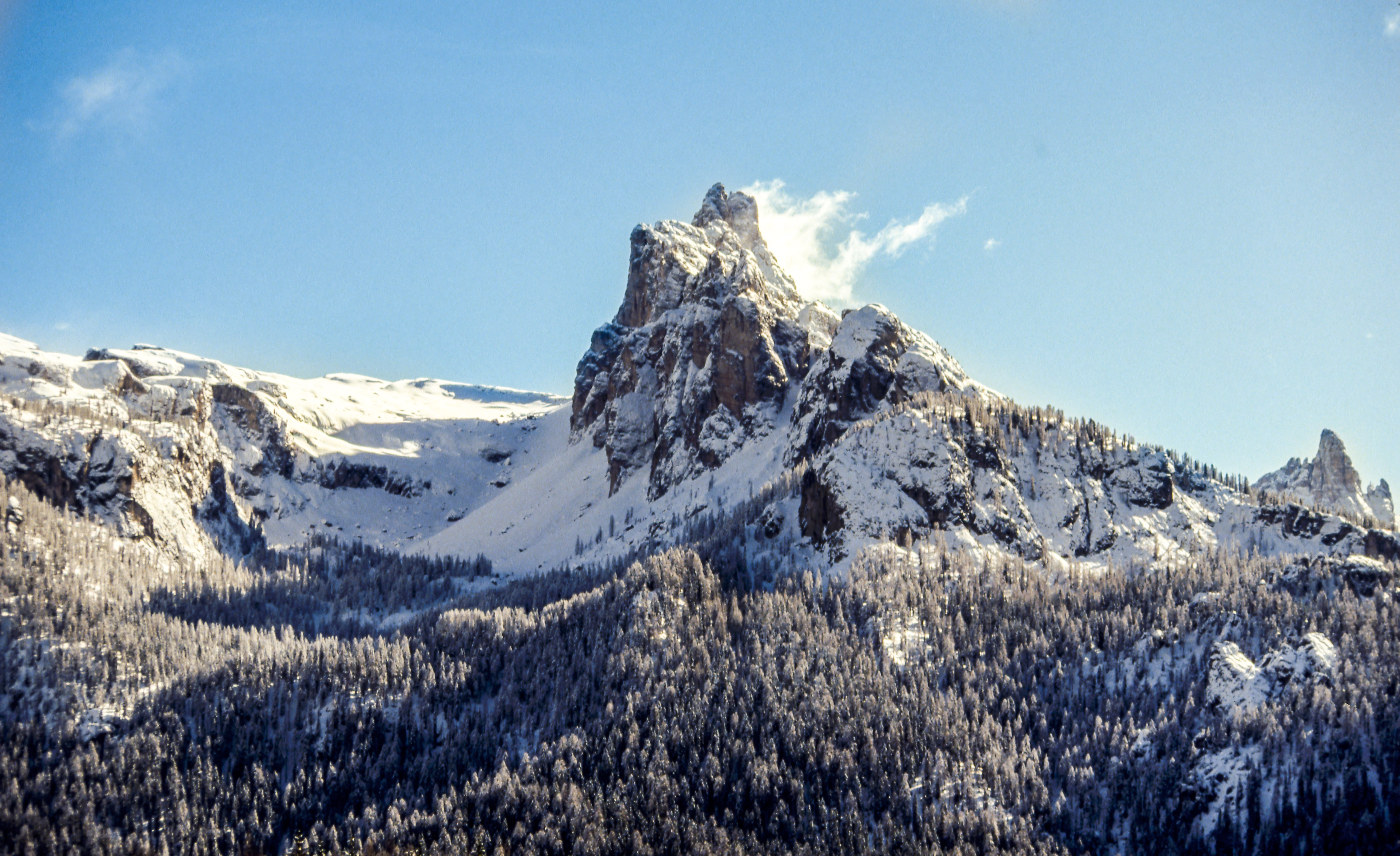 snow covered mountain under blue sky
