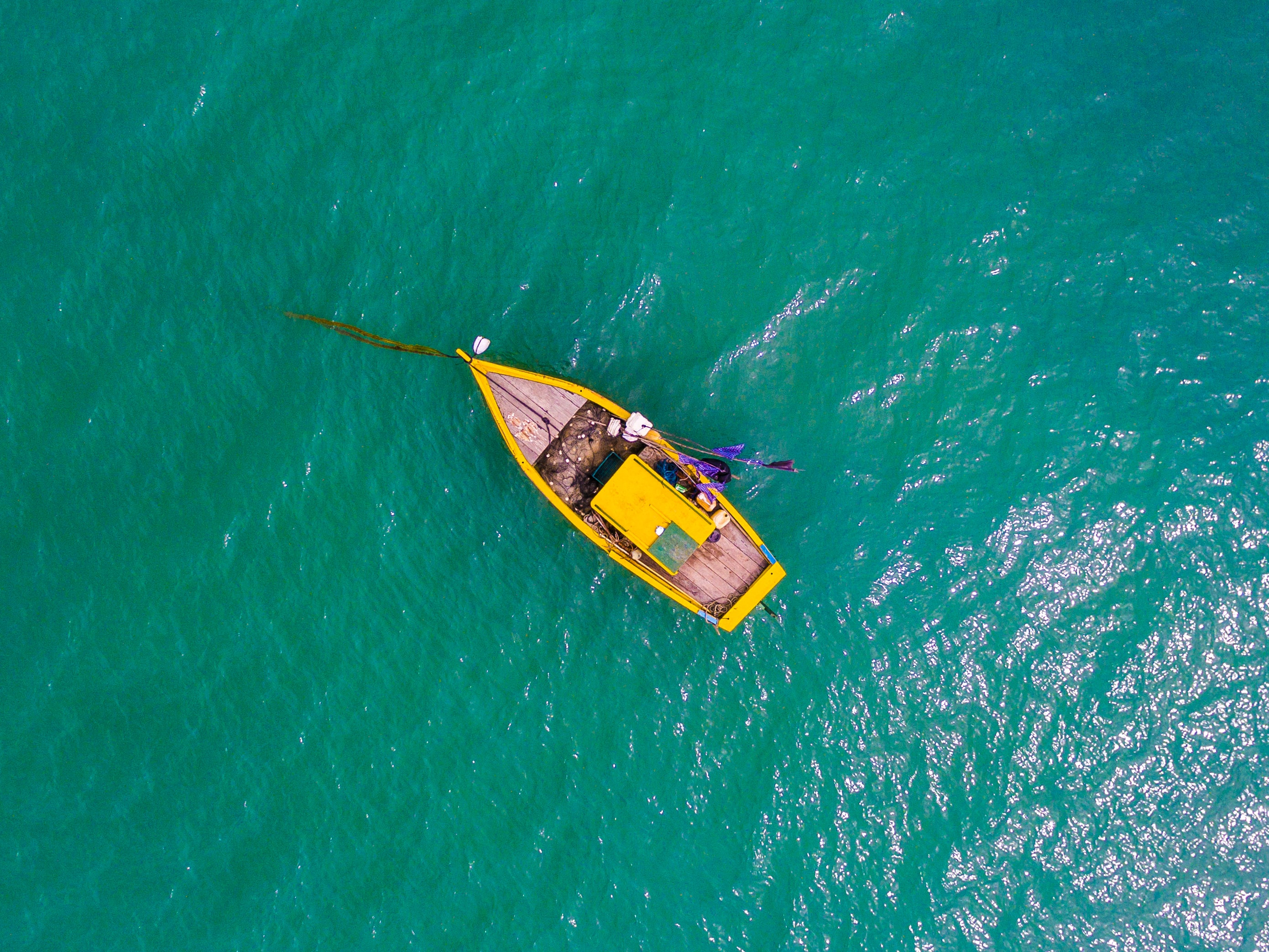 aerial view photography rowboat on body of water
