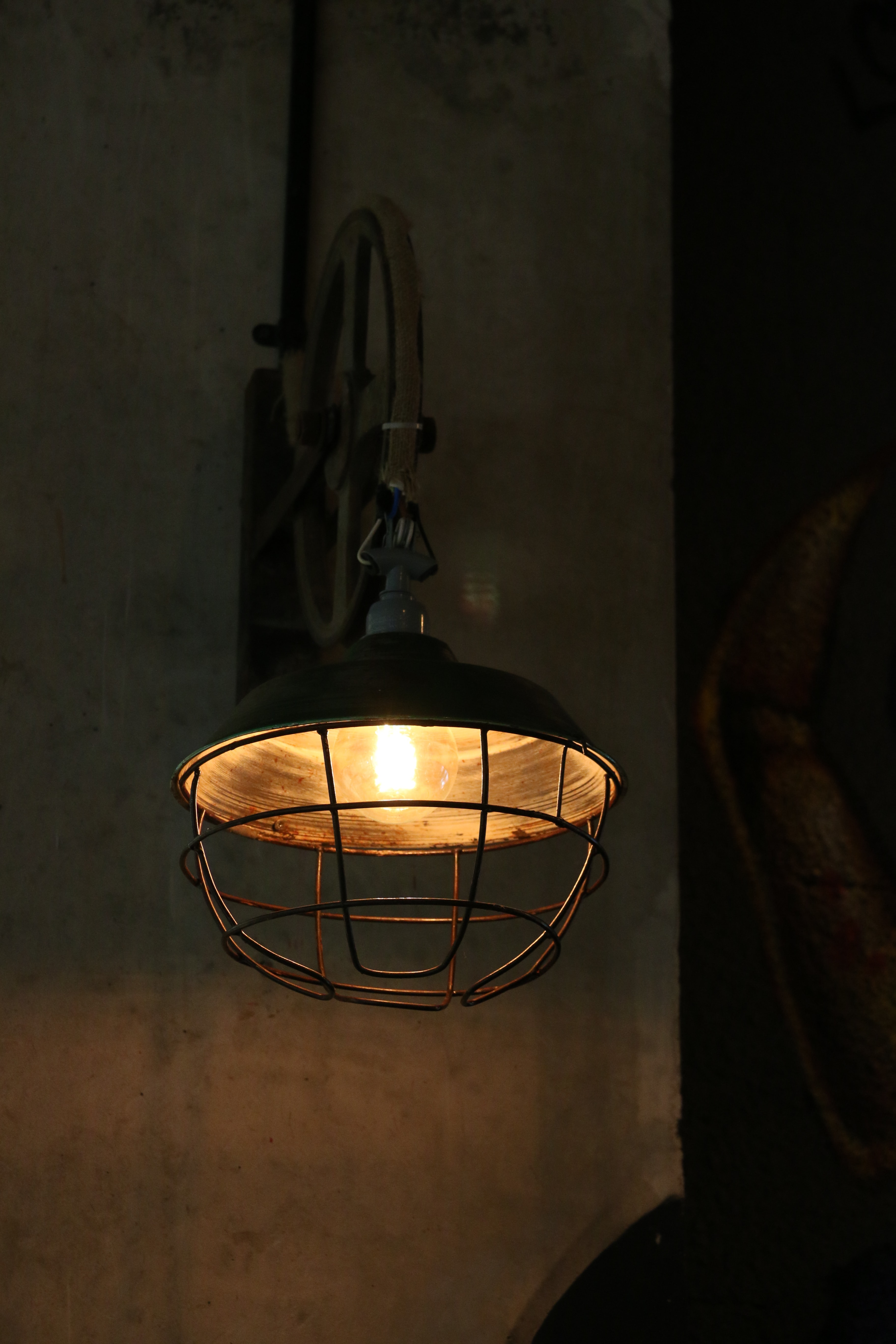 brown sconce with lights on
