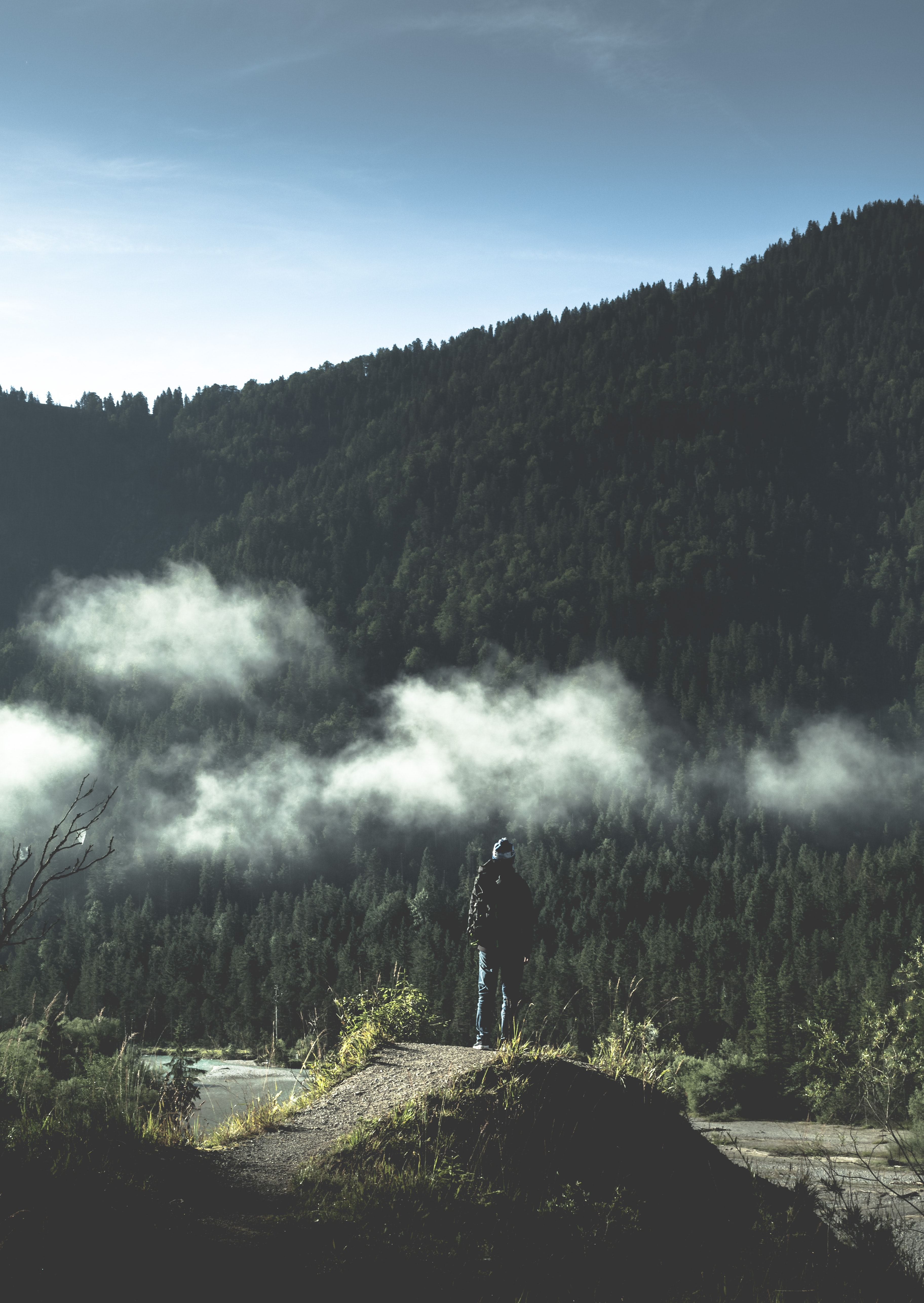 A person standing on a rock and looking into the misty sky in Vorderriss