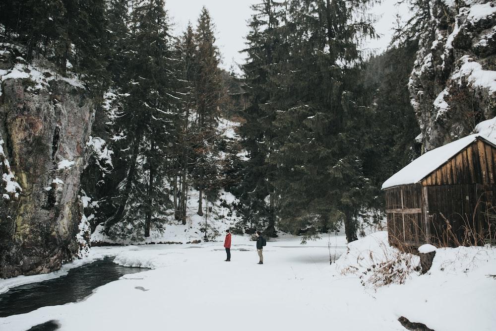 people standing on snowfield