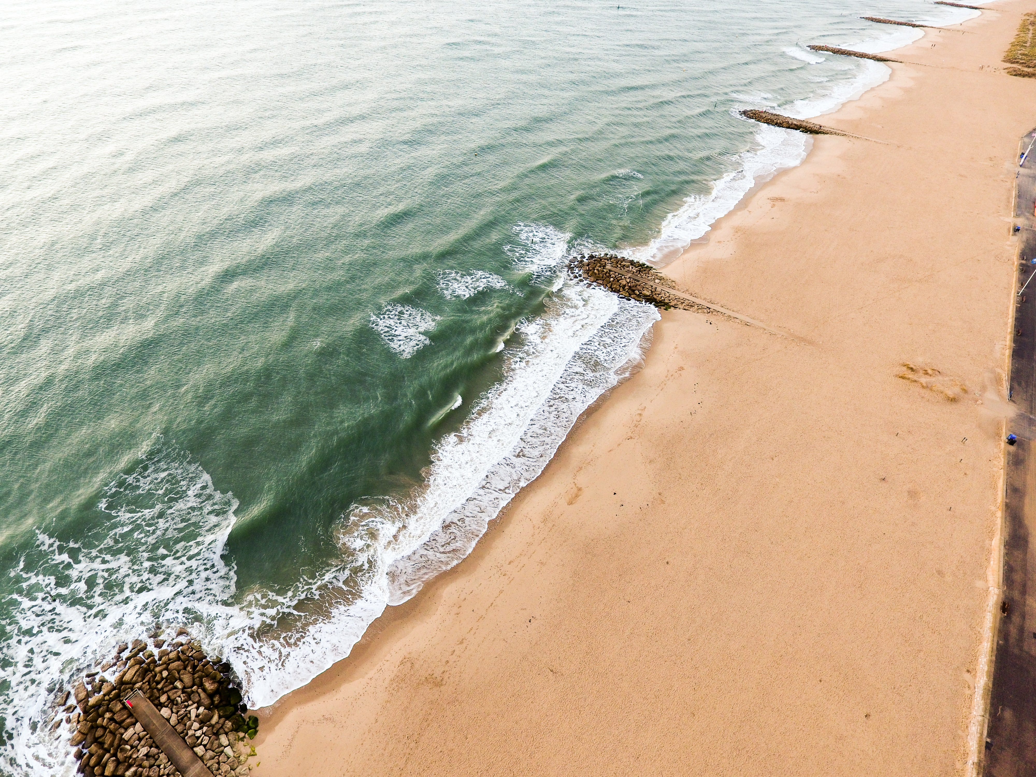 aerial view photography of beach during day
