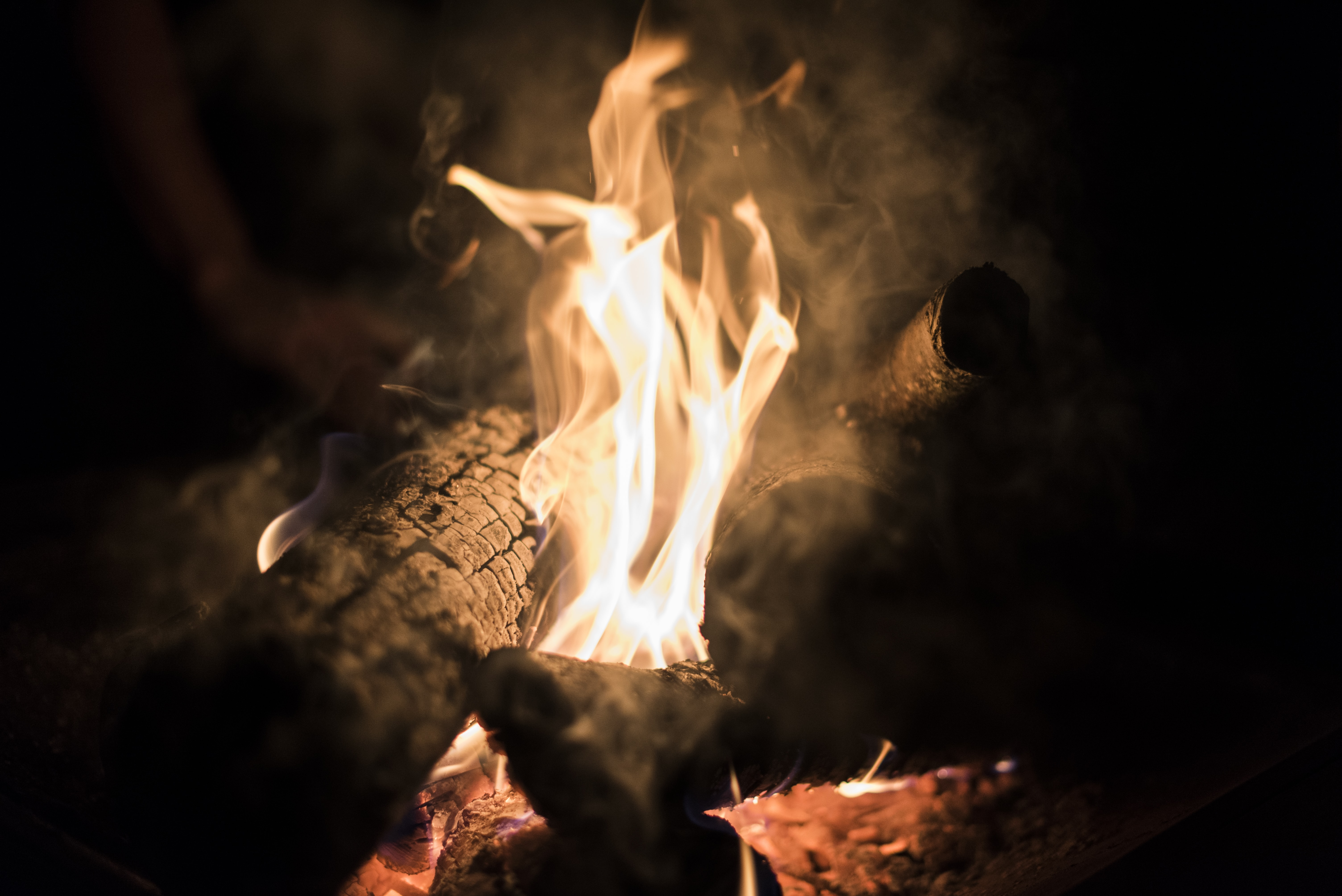 Close-up of bright flames in burning firewood