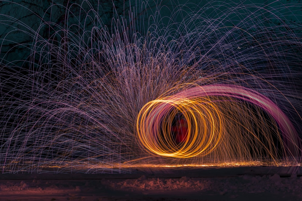 pink and orange light string photography