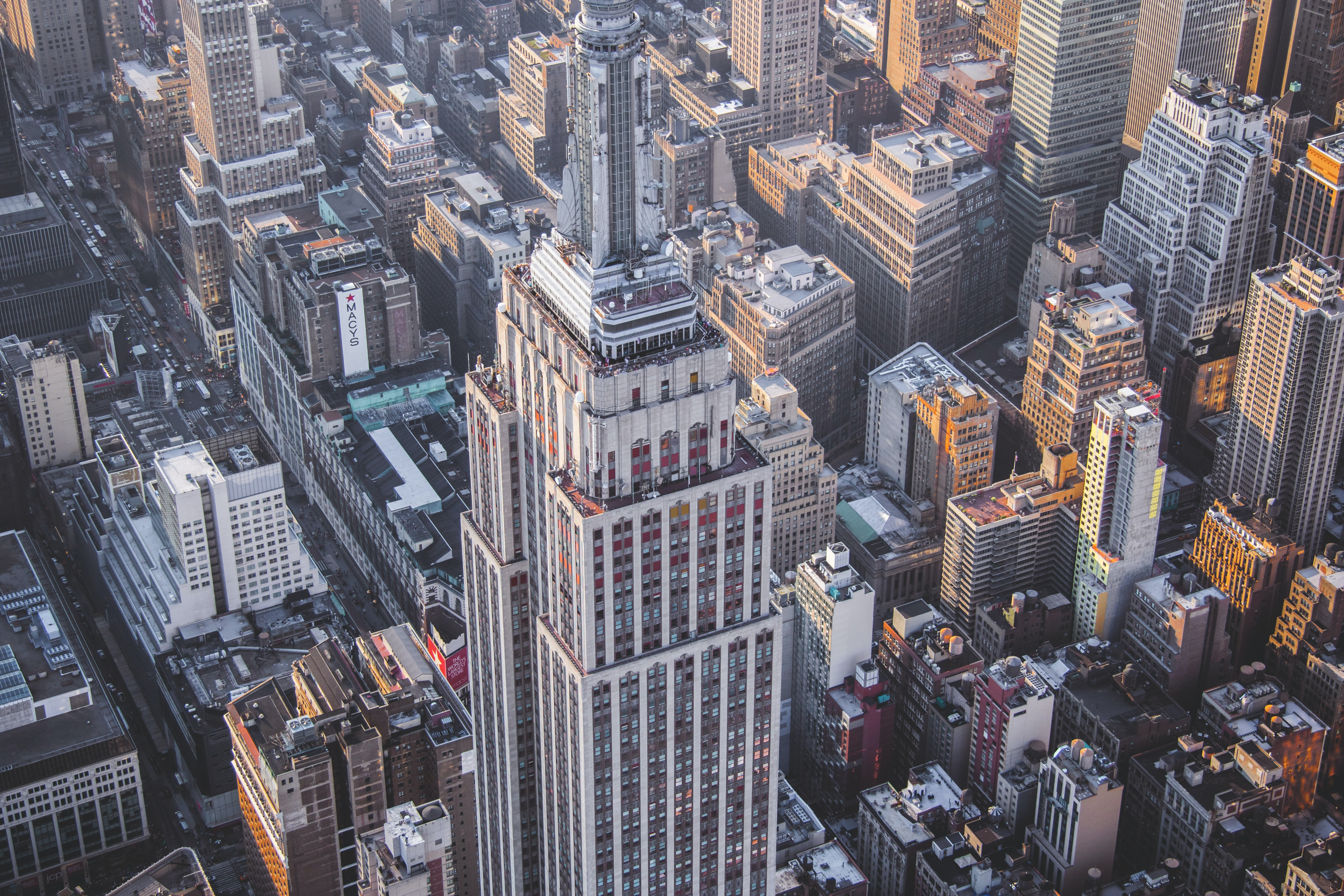 A helicopter view of the Empire State building.
