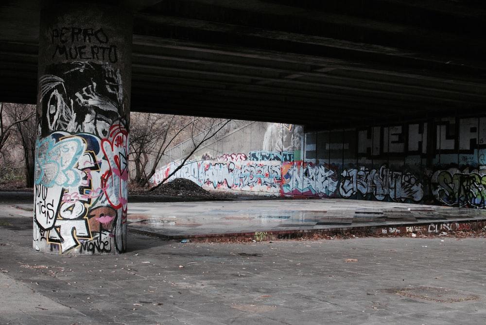 bare trees near graffiti wall