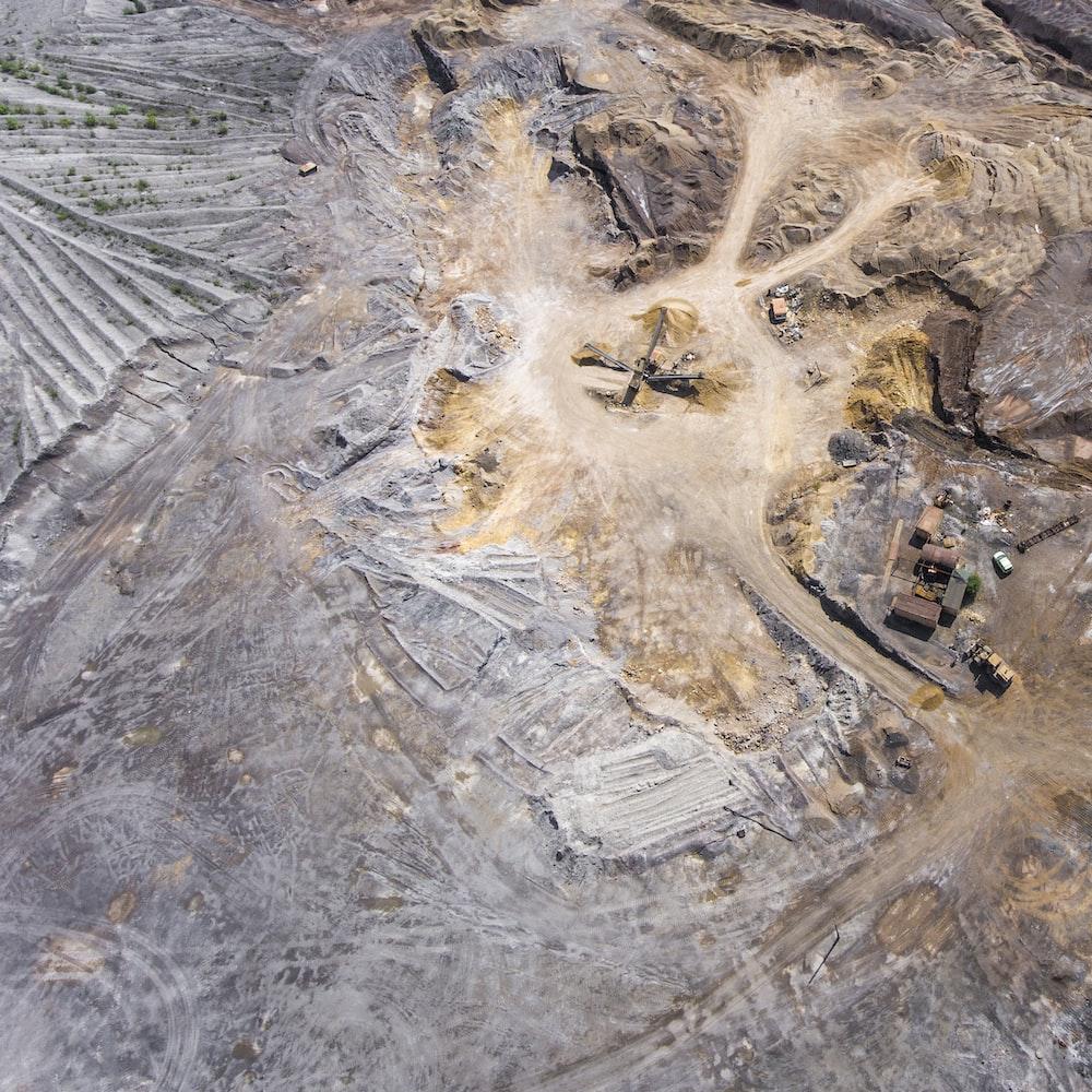 bird's eye view of mining area