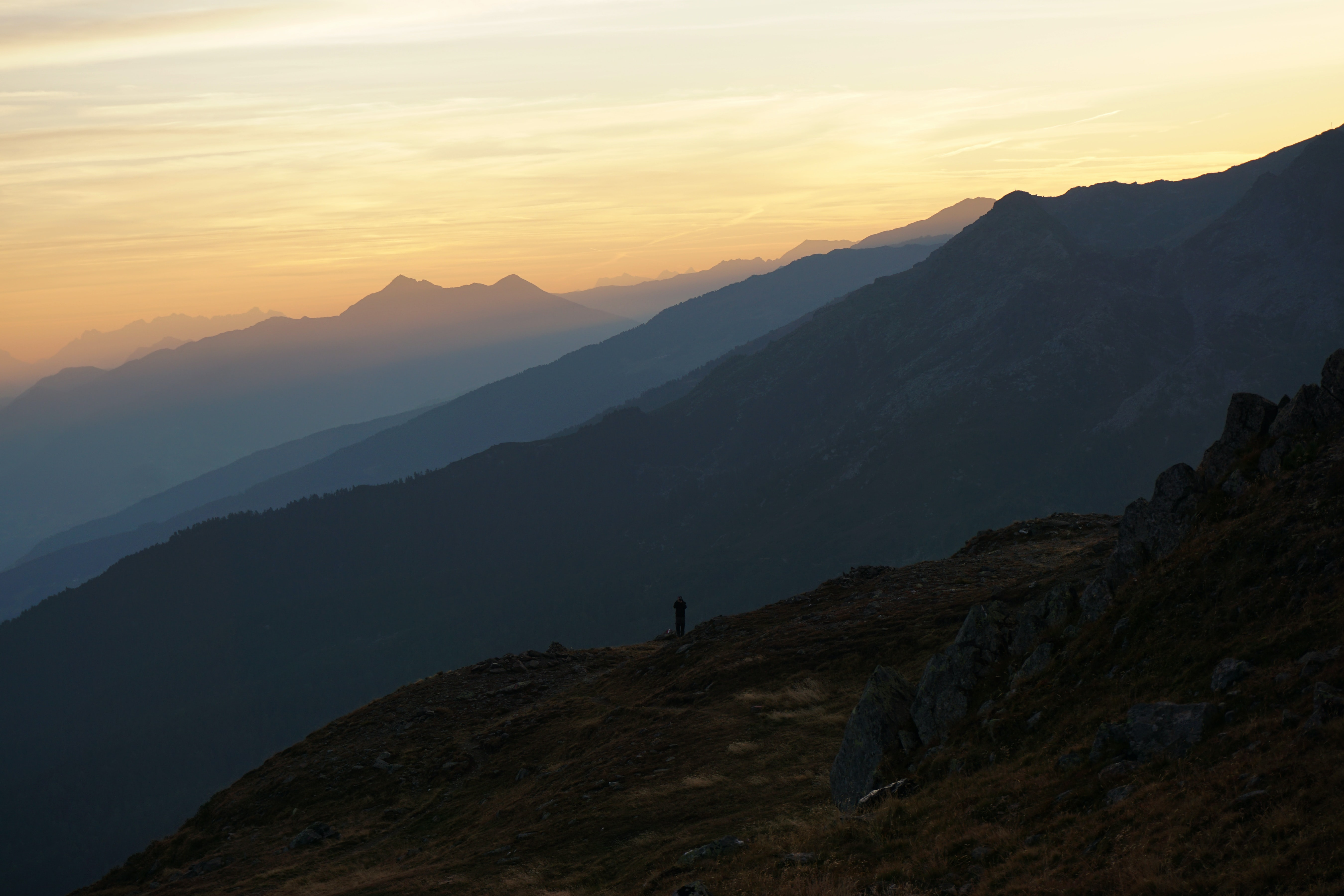 Sunrise or sunset over a rocky mountainous ridge, Innsbruck, Austria