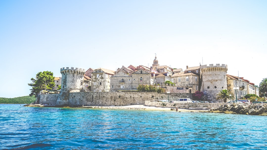 View at old city of Korcula and fortress in Croatia,