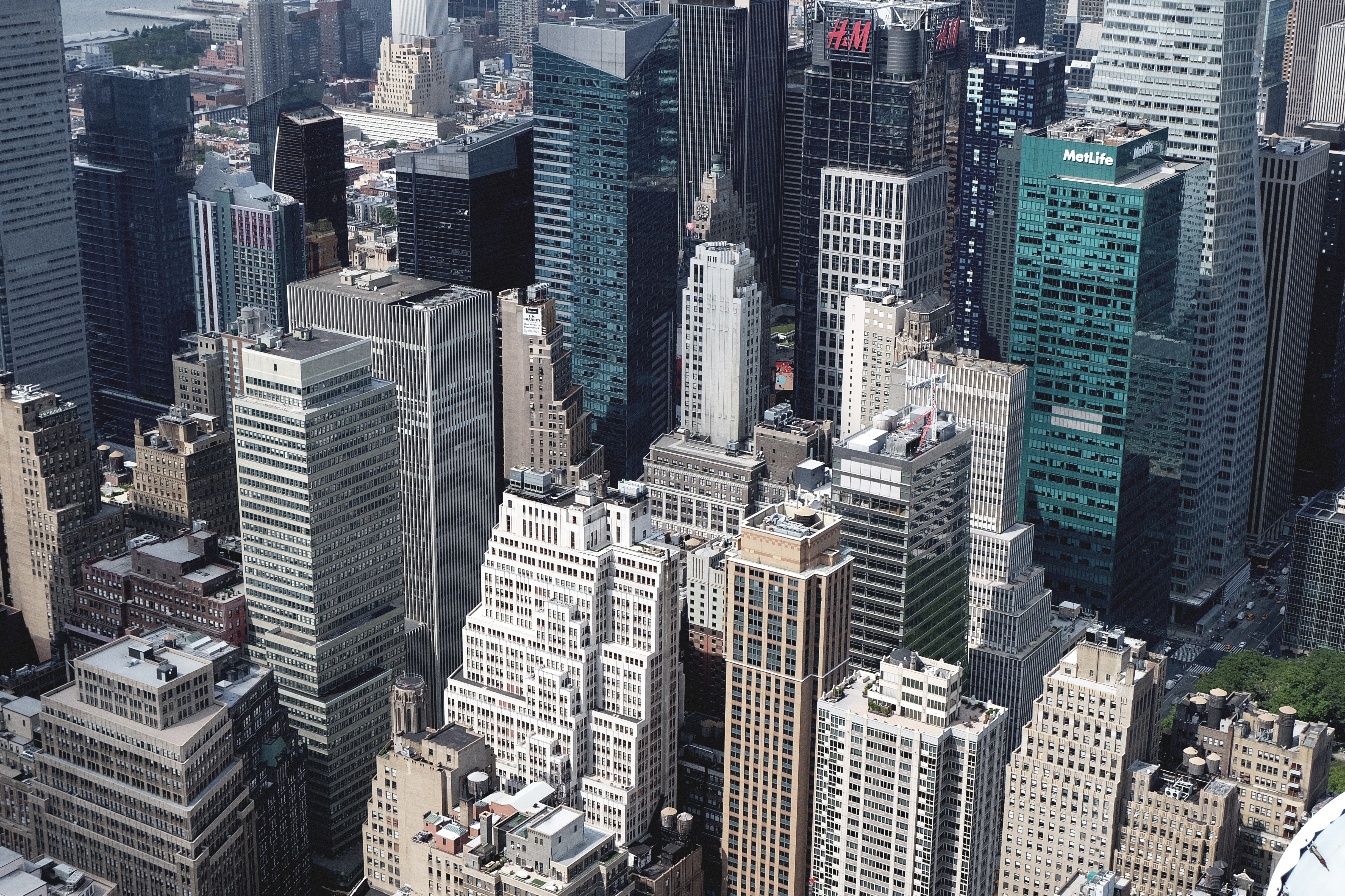 A high view of high-rises and skyscrapers in New York