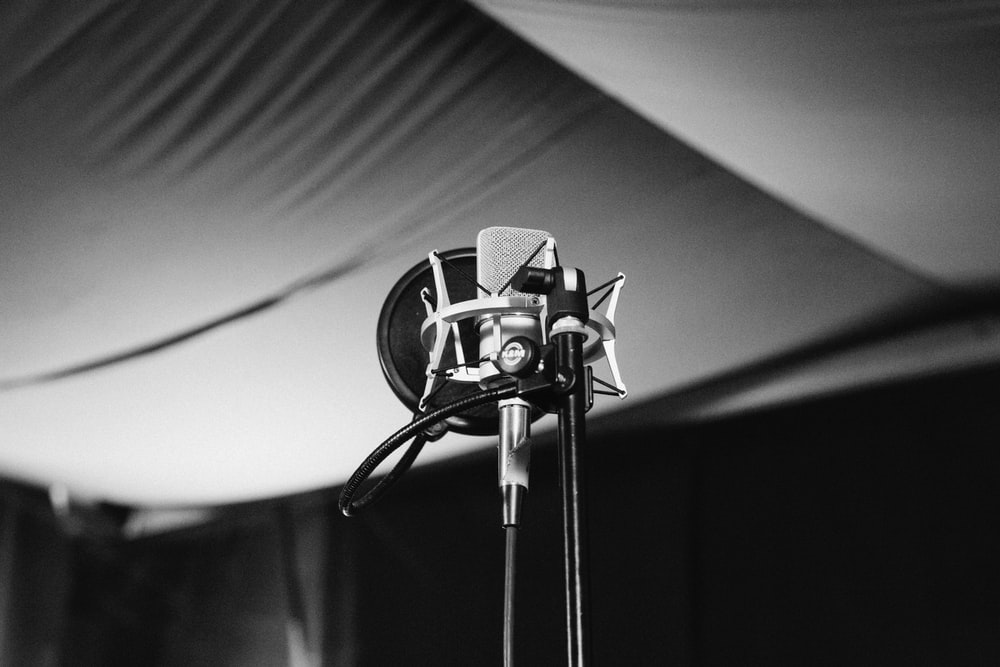 greyscale photo of condenser microphone with stand