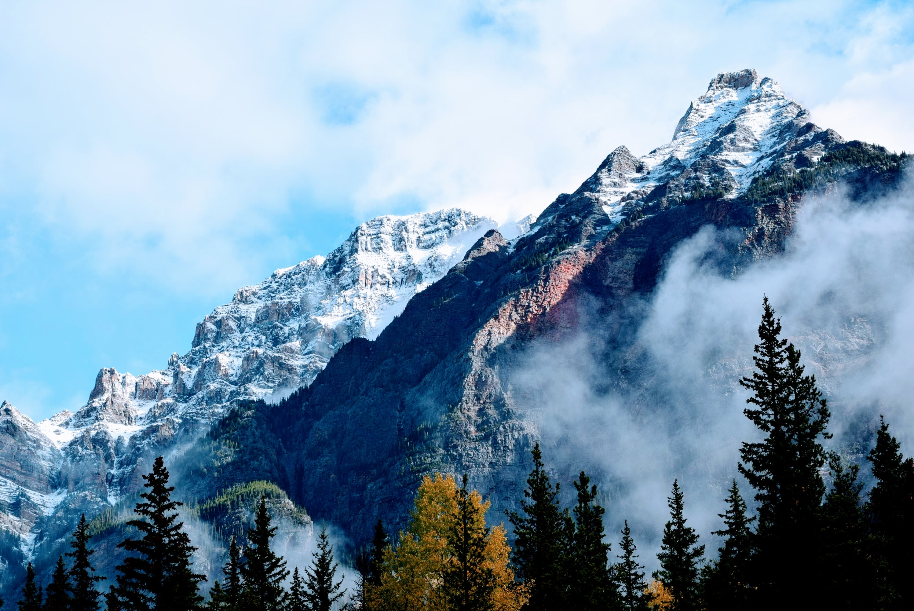 Imposing snow-topped mountain peaks in Jasper National Park