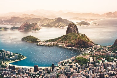 aerial photography of cityscape near sea brazil zoom background