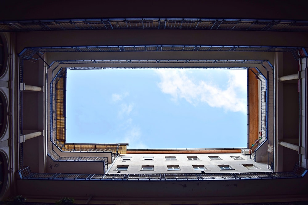 worm's eye view photography of the building