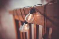selective focus photography of string bulbs