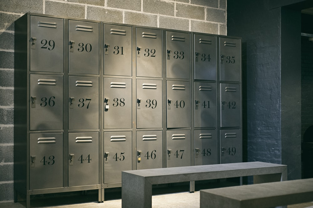 gray steel locker room inside the room