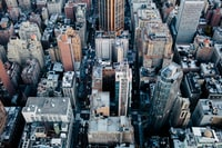 bird's eye view photography of gray buildings