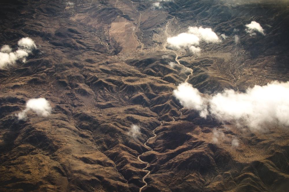 aerial view of mountainous region