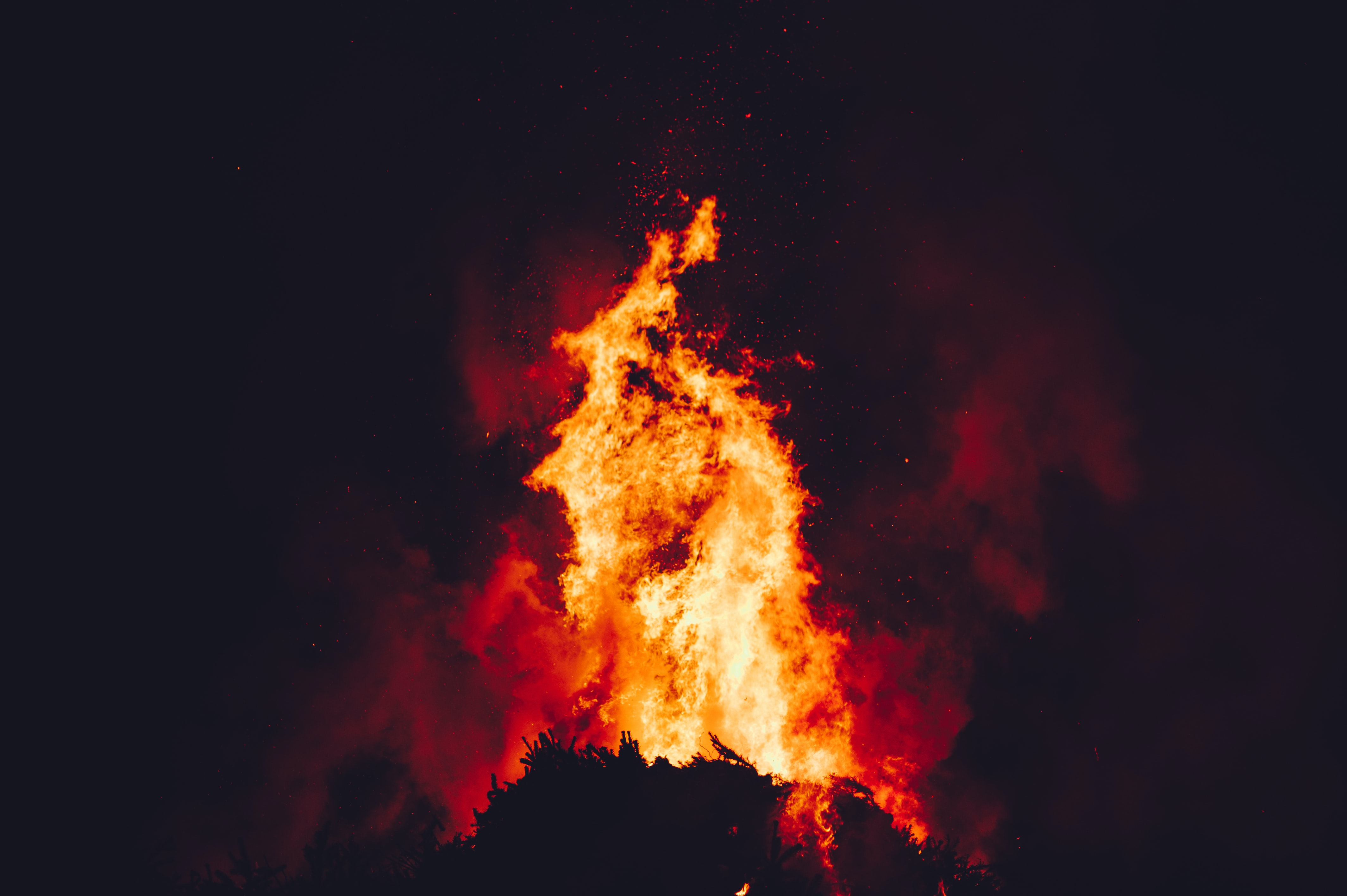 A blazing bonfire in the night