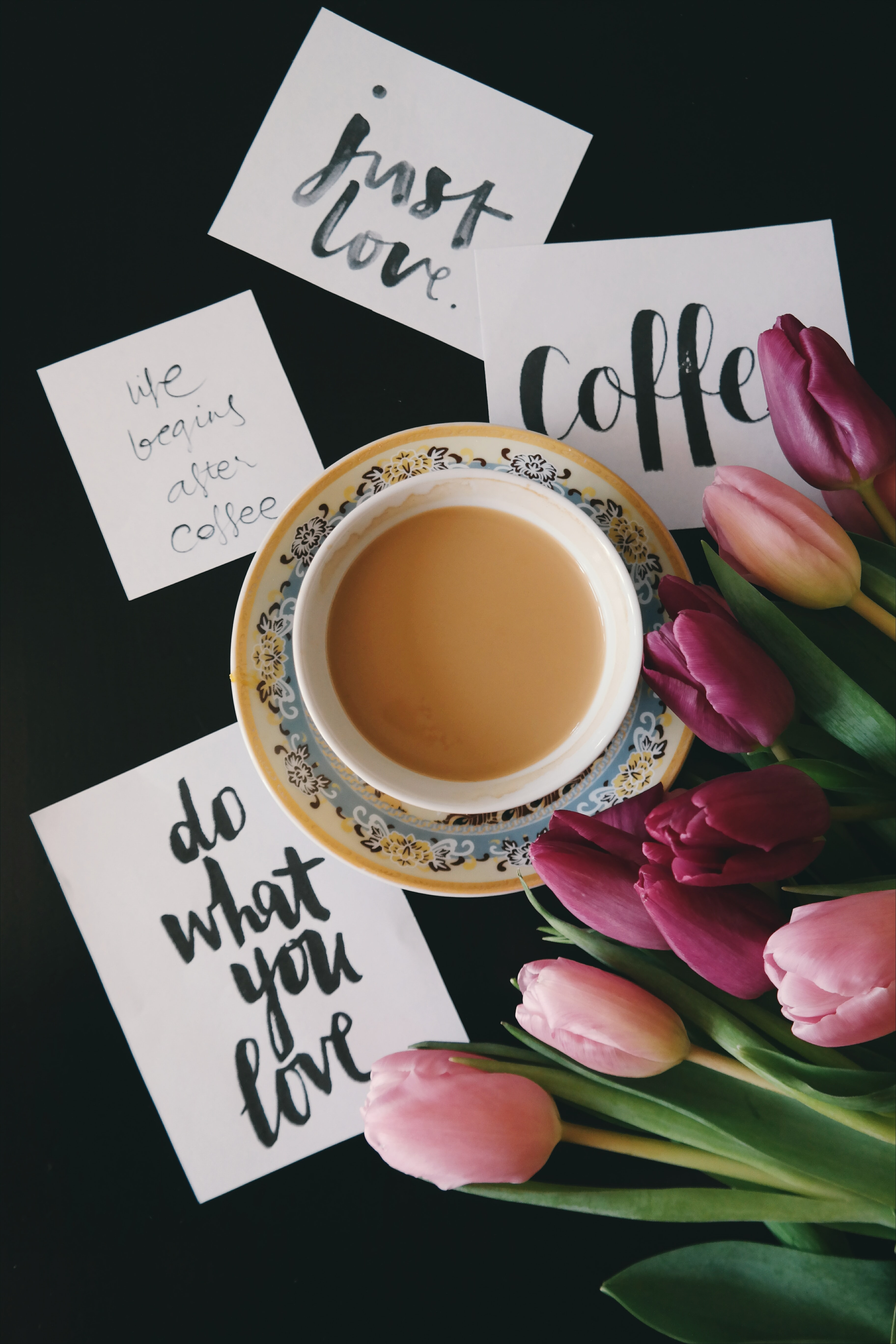 Motivational notes next to a cup of coffee.