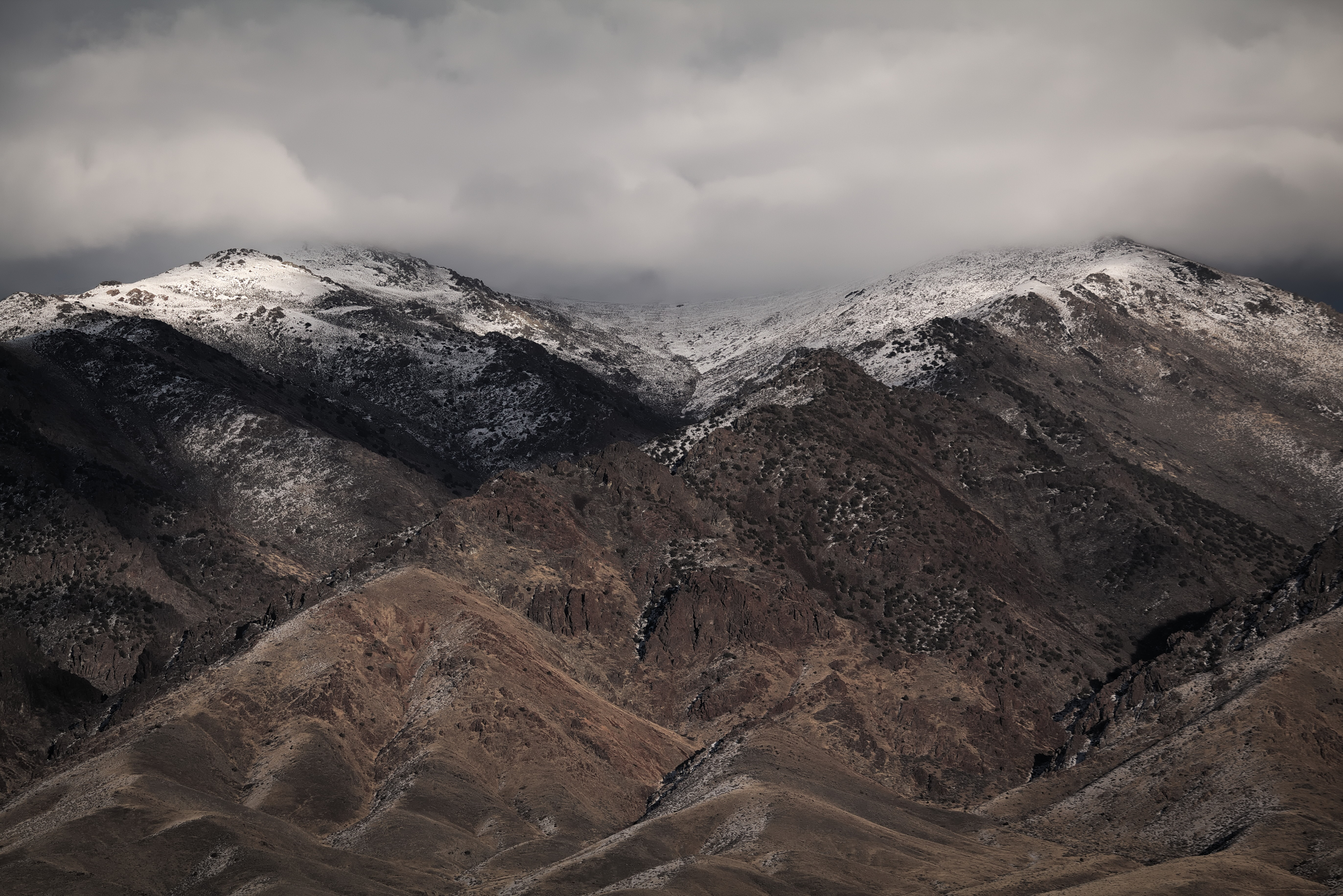 A snowy mountain with a shrub-covered slope in Nevada