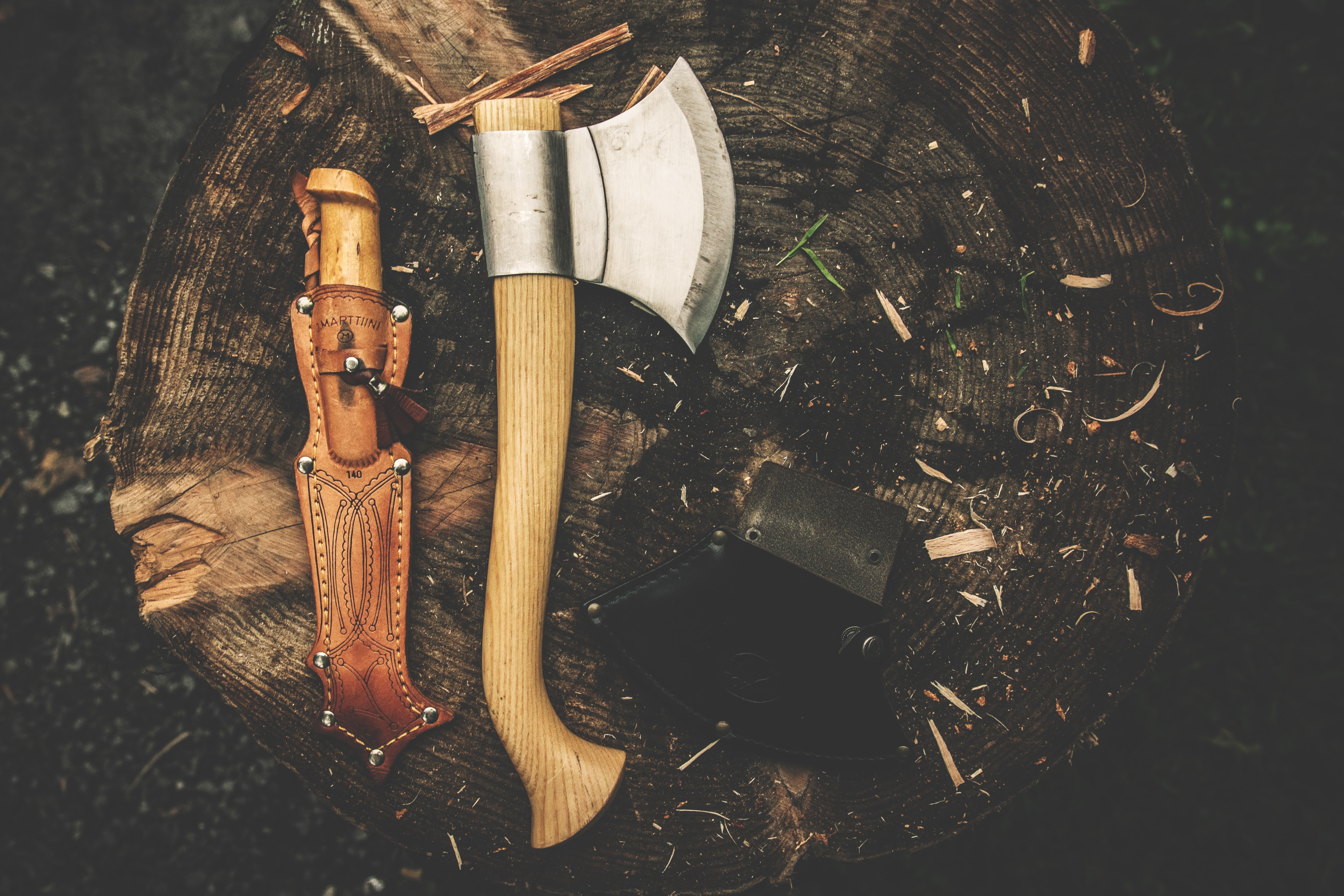 ax and knife with sheath