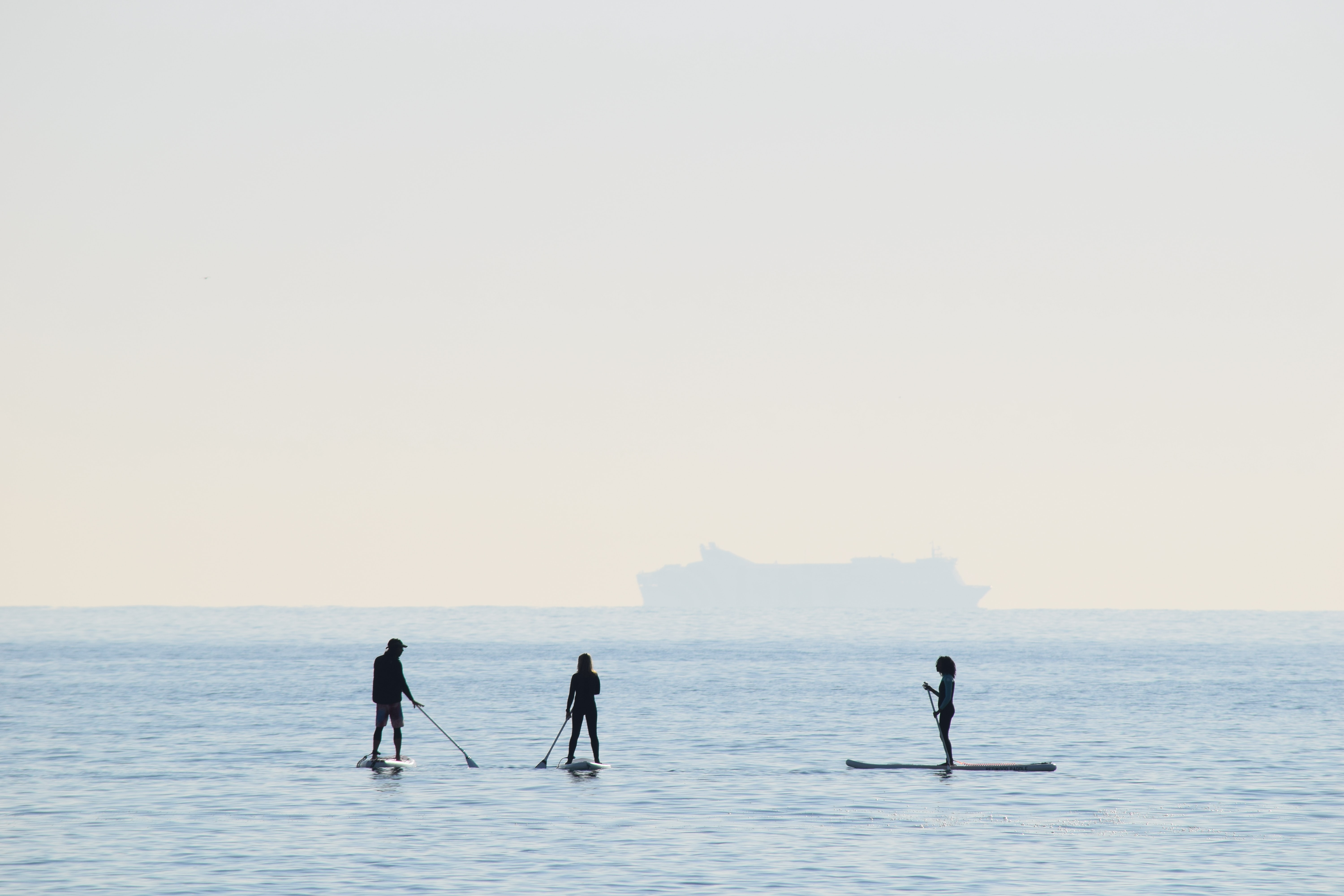 people riding on paddle boards
