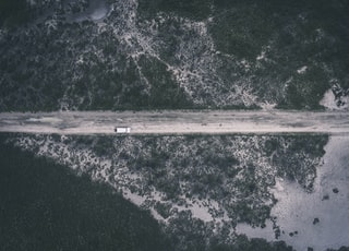 aerial photography of vehicle on road