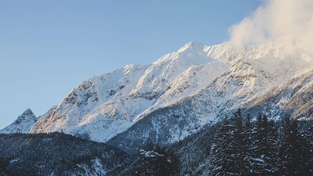 mountain covered with sno