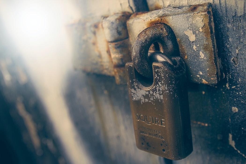 Rusted deadbolt lock