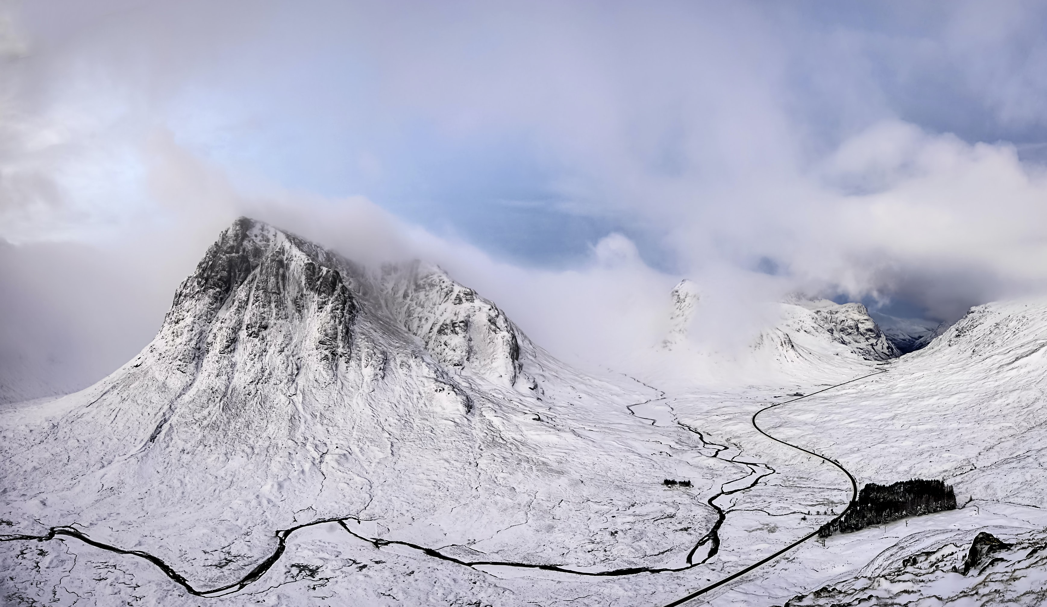 A snowy mountain valley in Glencoe