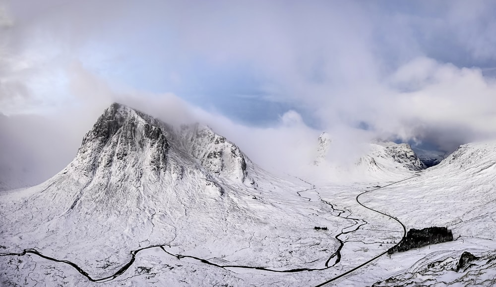 landscape photography of snow covered mountain under cloudy sky