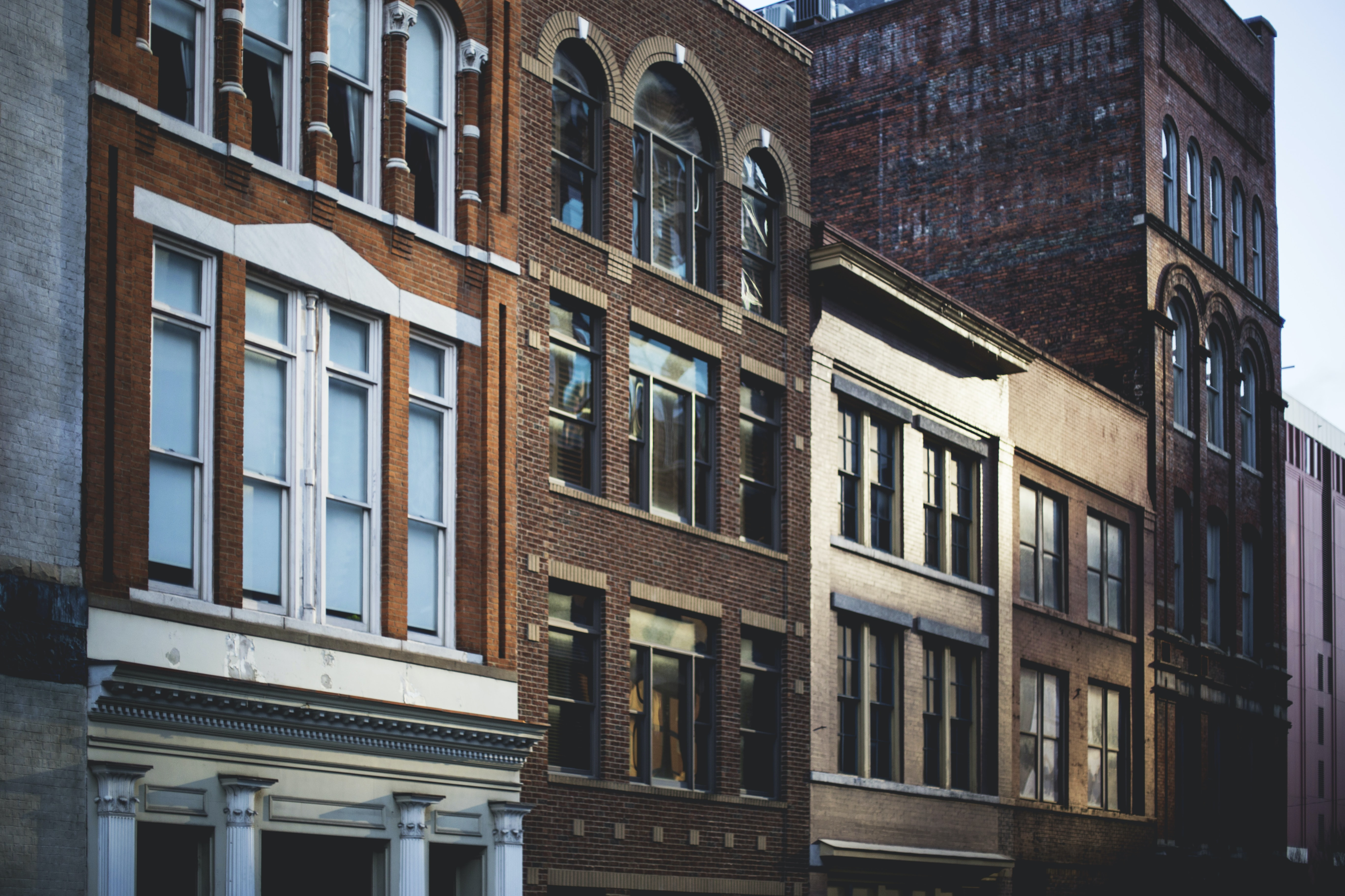 A row of old brick buildings in Nashville.