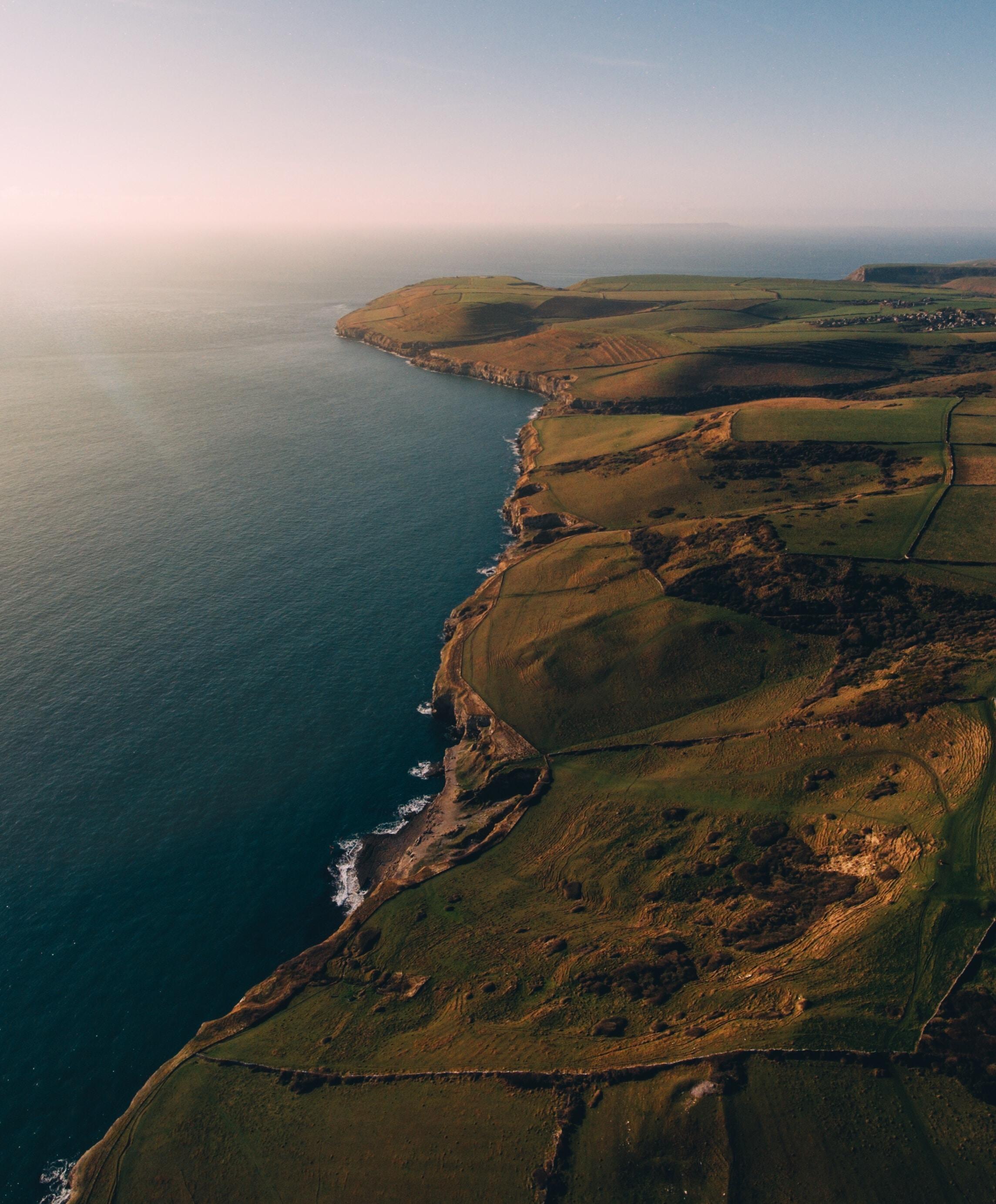 Drone shot of a coastline.