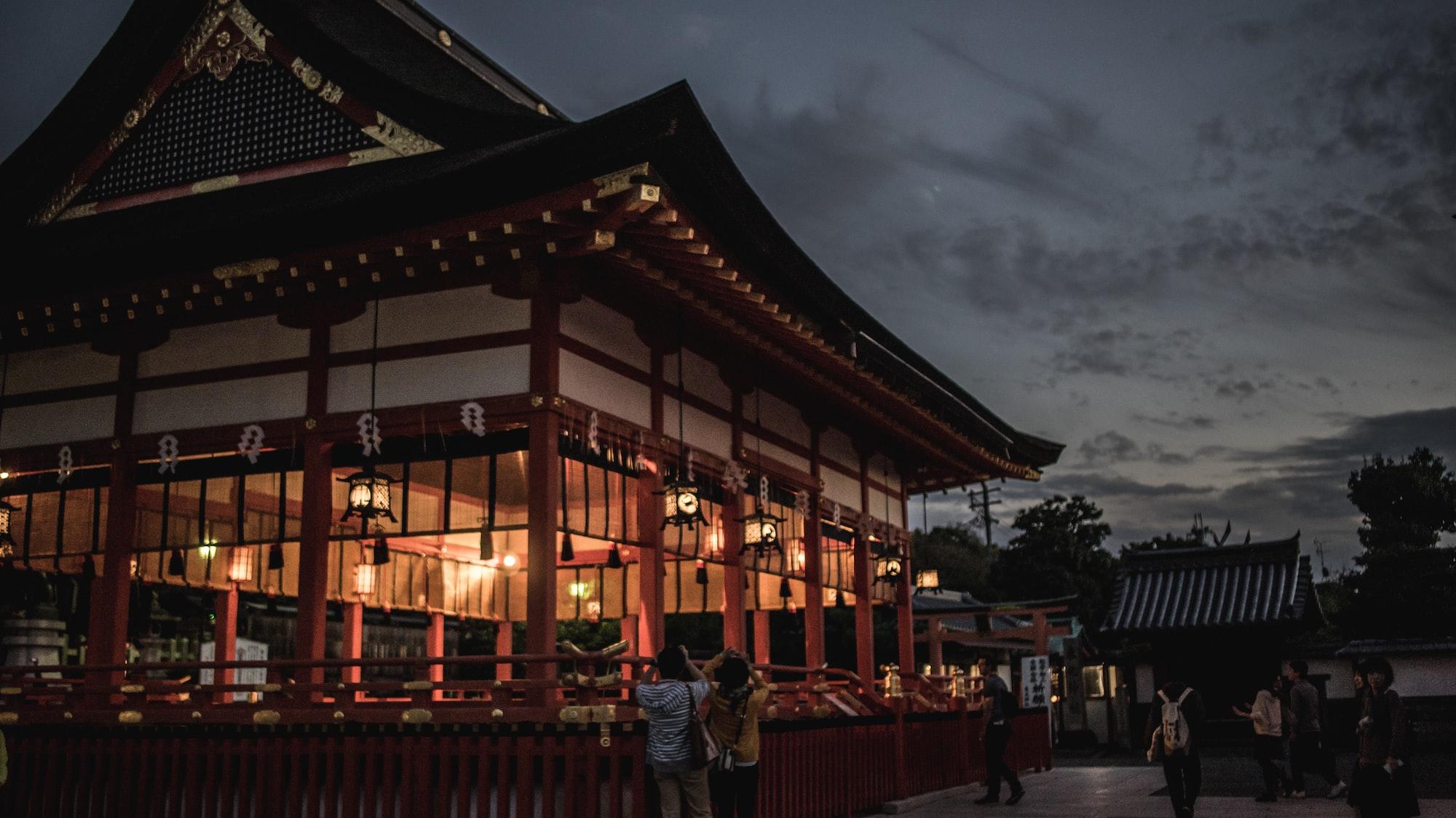 Beautiful night in Inari Shrine, Kyoto
