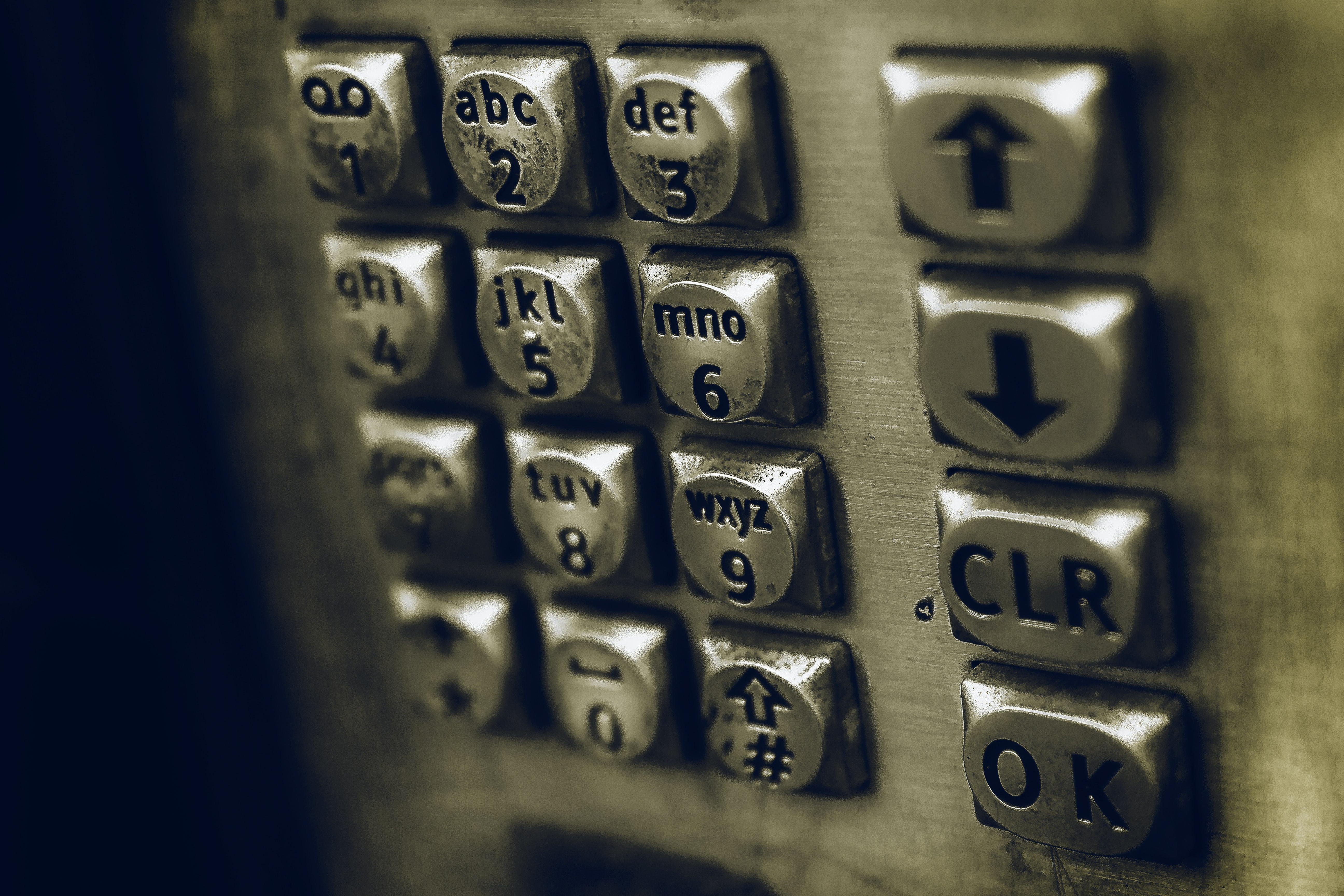 Close-up of a payphone keypad